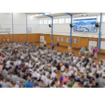 Large LED screen Mount Aspiring College Gym
